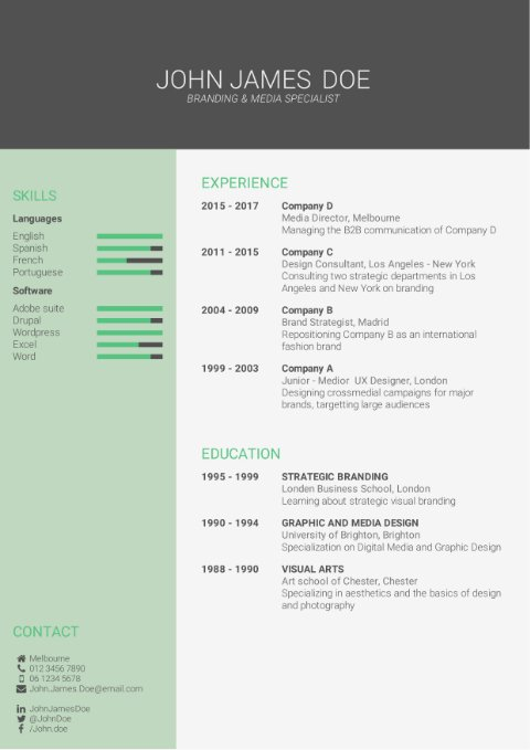 CV Template eye-catching green