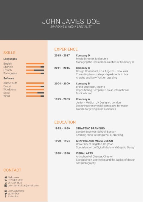 CV Template eye-catching
