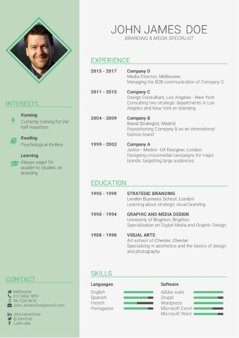 CV Template business green