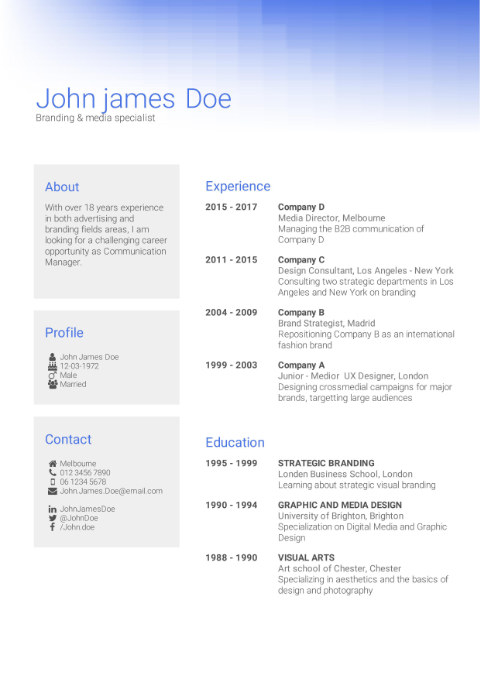 CV Template creative blue