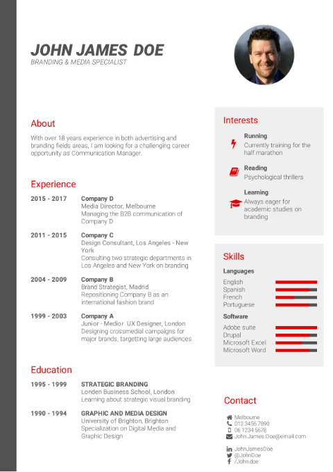 CV Template professional red