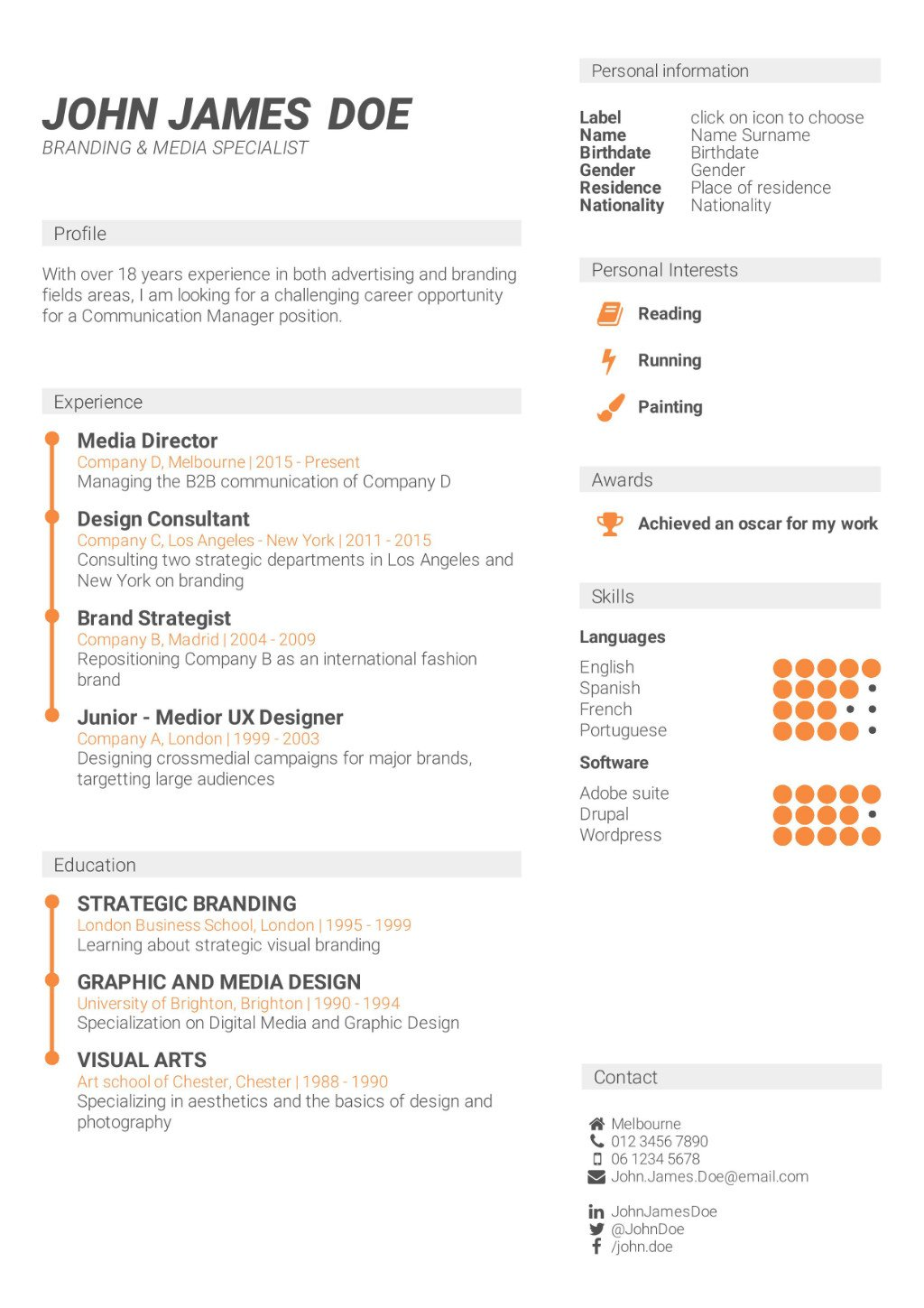 Superb CV Template Chronological And Skill Based CV