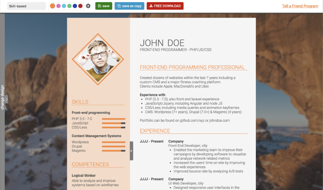 Free skill based CV template