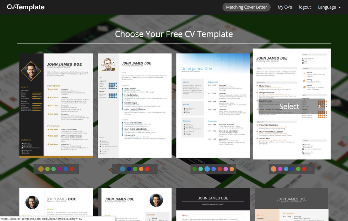 CV Builder choose CV Template