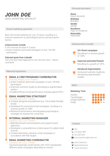 Recommended performance-based CV template