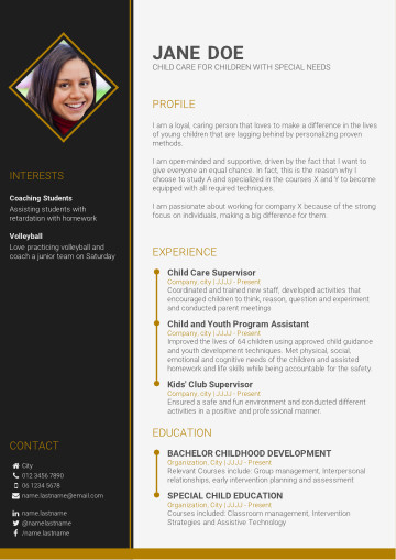 Recommended personal-based CV template