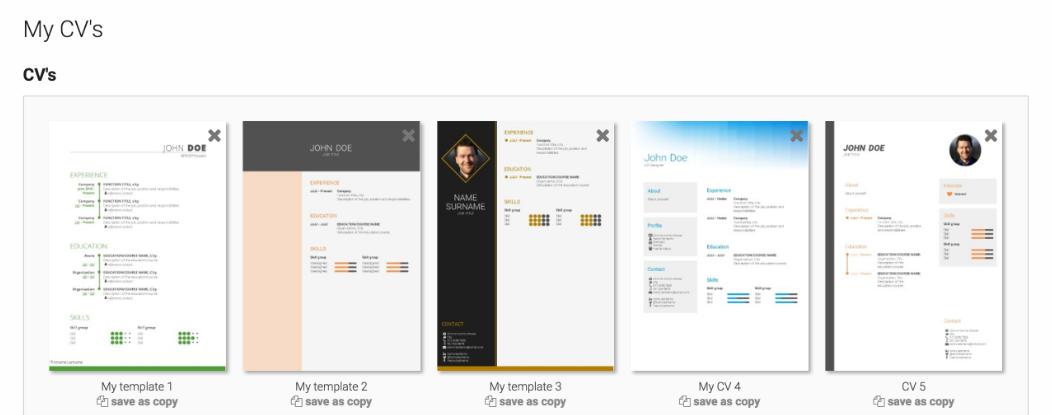 CV-Template | Online CV Builder manual