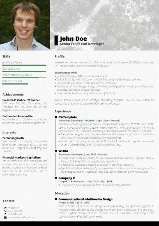 Choose Your CV Template - Free Online CV Builder